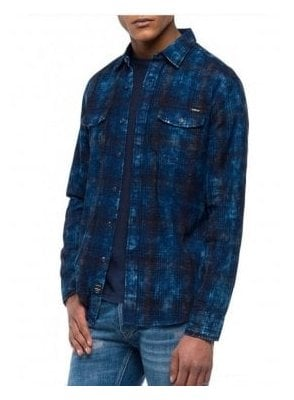 Check Dark Indigo Blue Shirt
