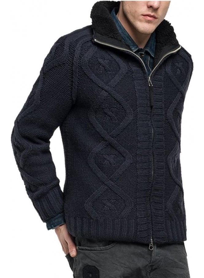 REPLAY Chunky Knit Fleece Lining Zip Cardigan Jacket Navy