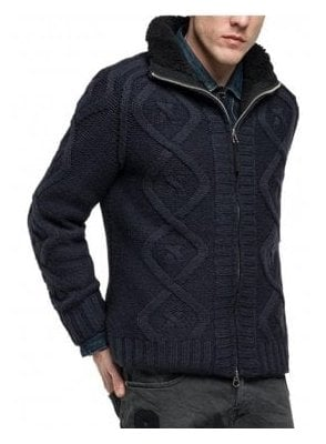 Chunky Knit Fleece Lining Zip Cardigan Jacket Navy