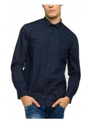 Cotton Stretch Slim Fit Shirt - Navy