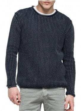 Crew Neck Chunky Knit Jumper Navy 970