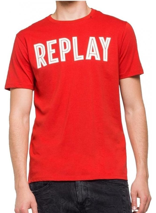 REPLAY Crew Neck Logo Branded Tshirt Red