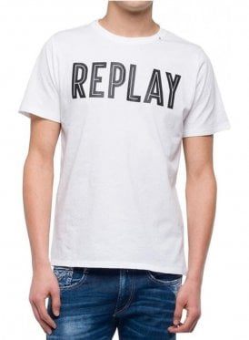 Crew Neck Logo Branded Tshirt White