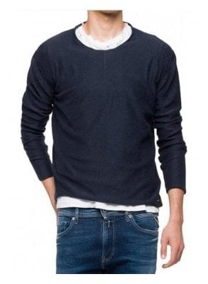 Crew Neck Long Sleeve Sweatshirt Ribbed Top Navy