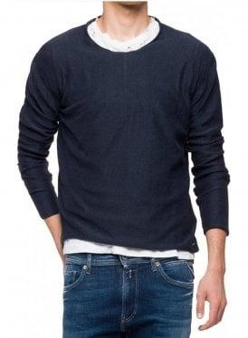 Crew Neck Long Sleeve Sweatshirt Ribbed Top Navy