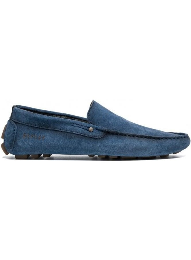 REPLAY Custer Moccasin Style Suede Loafer Blue