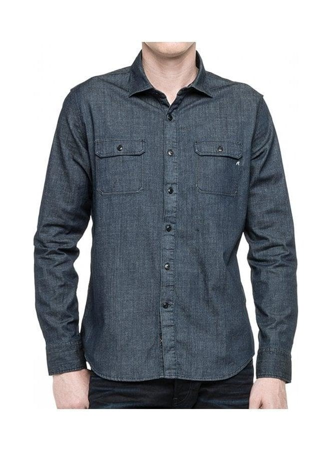 Denim Long Sleeve Pocket Shirt Indigo Denim