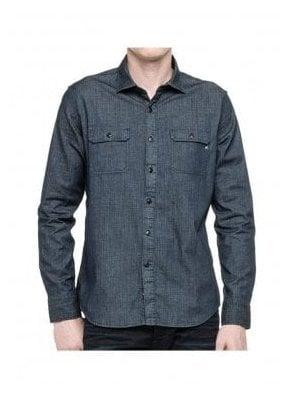 Denim Long Sleeve Pocket Shirt Indigo Denim