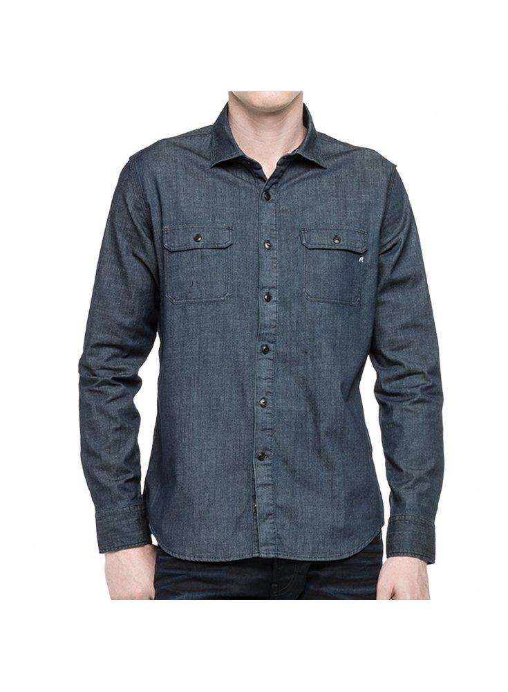 Replay denim long sleeve pocket shirt indigo denim for Long sleeve pocket shirts