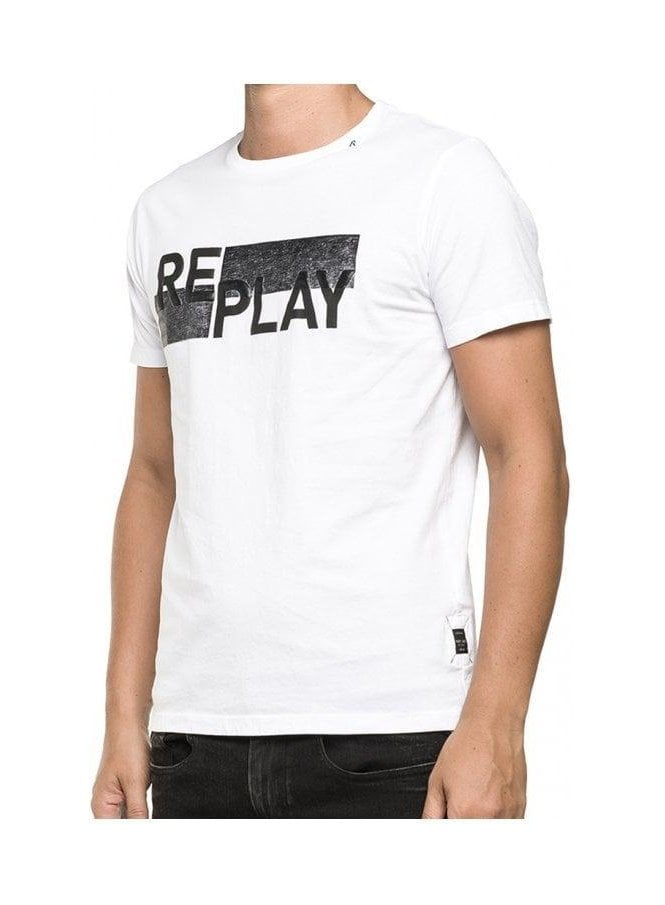 REPLAY Embossed Printed T Shirt White