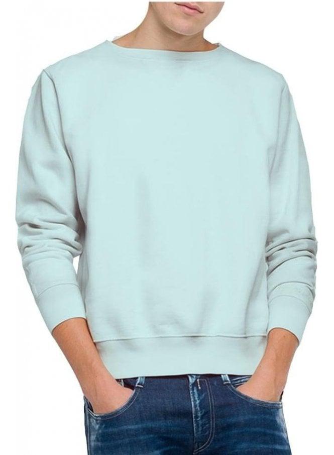 REPLAY Enzyme Wash Garment Dyed Sweatshirt Pale Blue