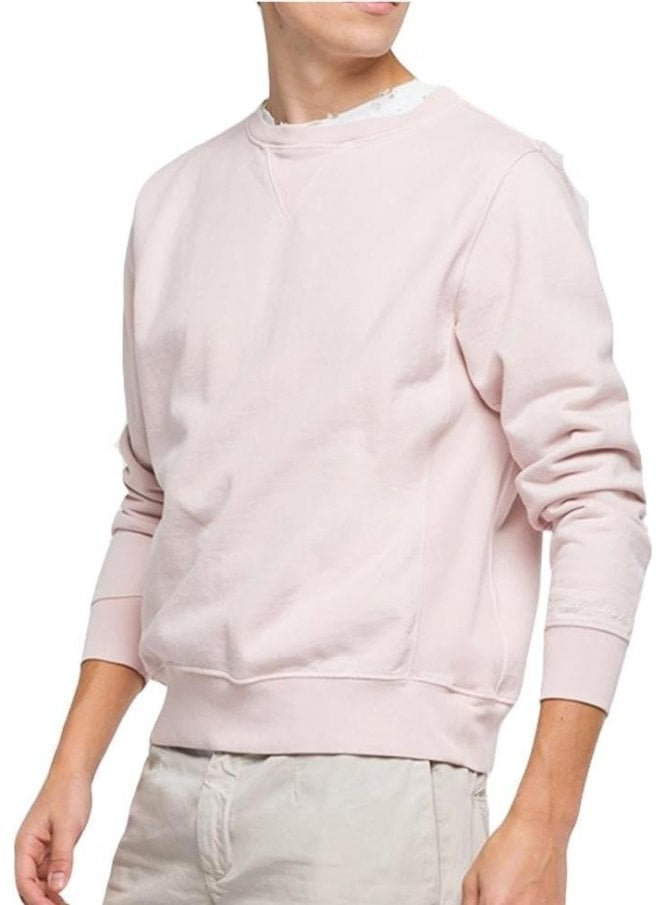 REPLAY Enzyme Wash Garment Dyed Sweatshirt Pale Pink