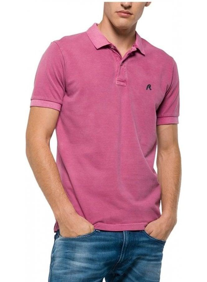 REPLAY Enzyme Wash Polo Tshirt Lilac