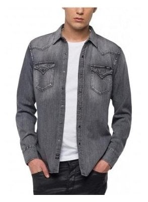 Grey Denim Shirt Stone Washed