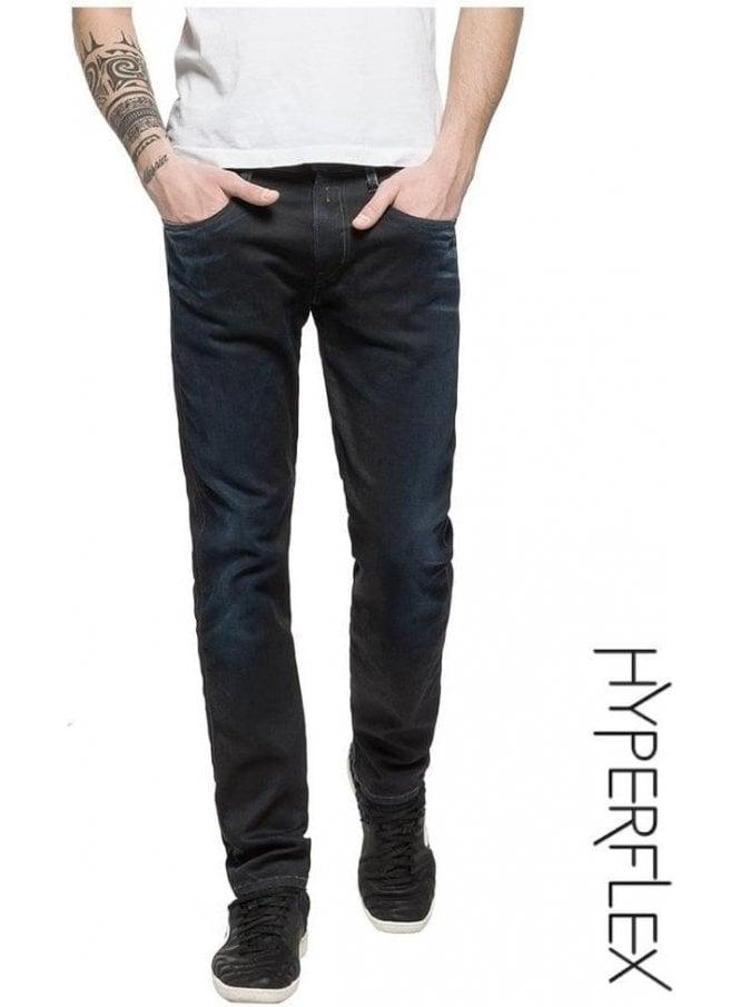 REPLAY Hyperflex Anbass Regular Slim Fit Jeans (Black Blue Edition Dark)