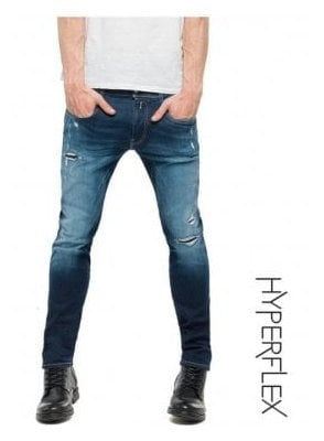 Hyperflex Anbass Regular Slim Fit Jeans Broken & Repair (Medium Dark)
