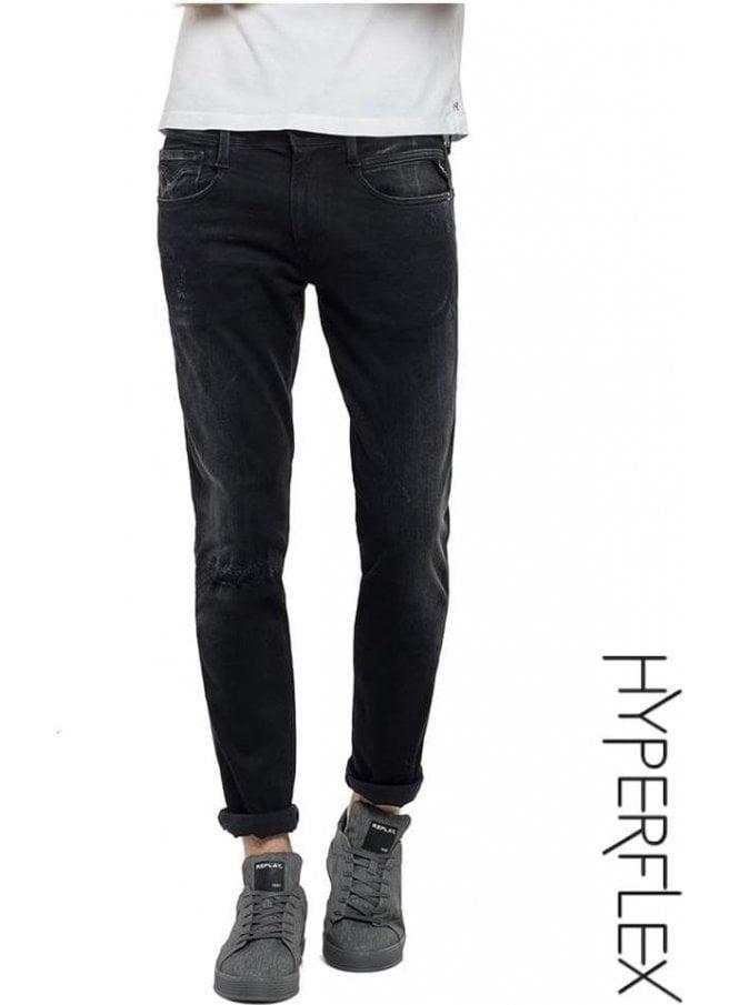 REPLAY Hyperflex Anbass Regular Slim Fit Jeans Broken & Repair (Washed Black)