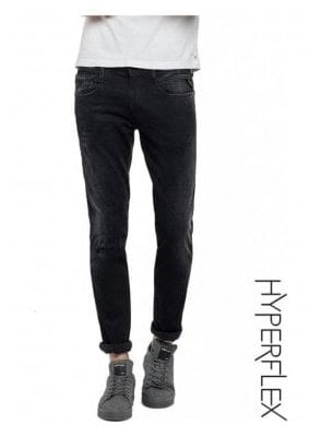 Hyperflex Anbass Regular Slim Fit Jeans Broken & Repair (Washed Black)