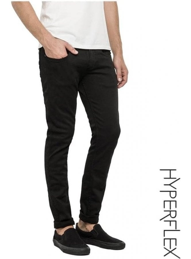 REPLAY Hyperflex Anbass Regular Slim Fit Jeans (True Black)