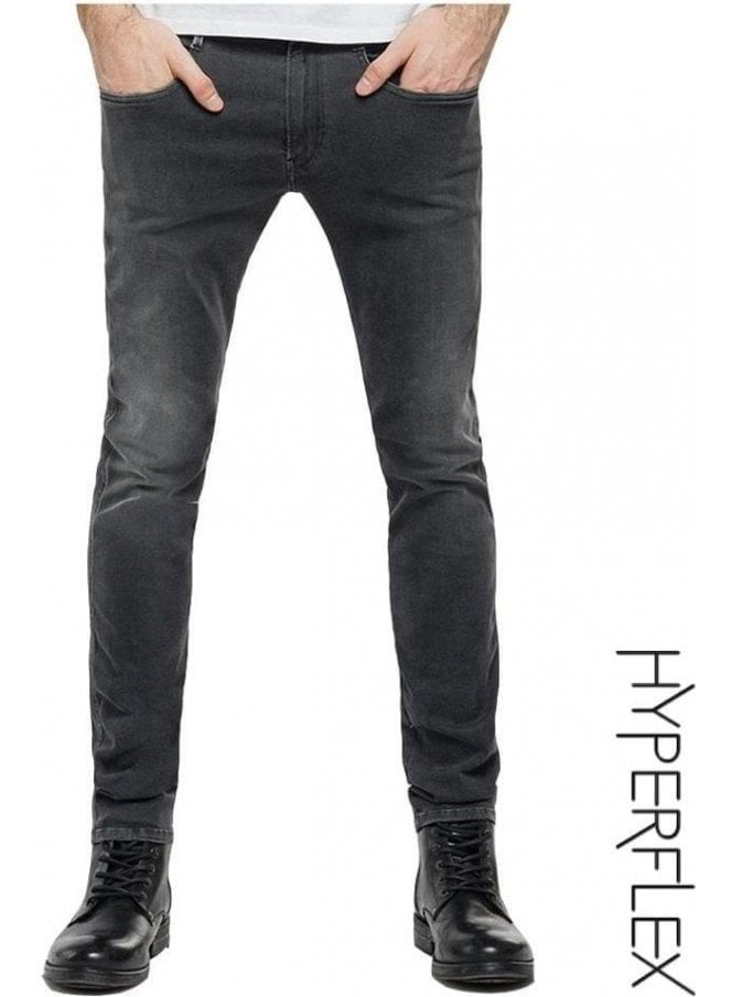 REPLAY Hyperflex Anbass Regular Slim Fit Jeans (White Weft Edition Grey)