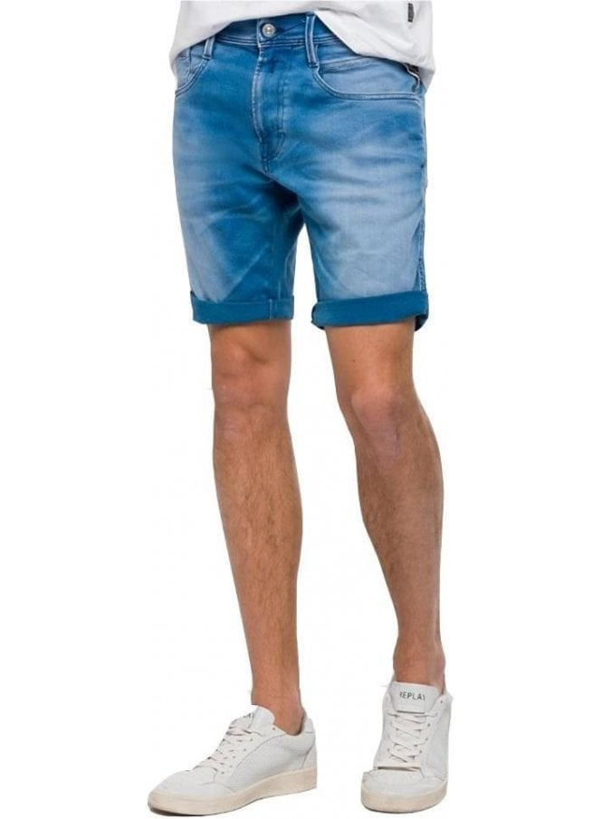 REPLAY Hyperflex Denim Double Indigo Shorts 009