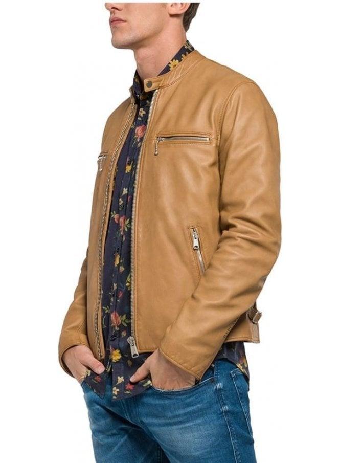 REPLAY Leather Biker Jacket Style Zip Detailed Side Contrast Zips Tan