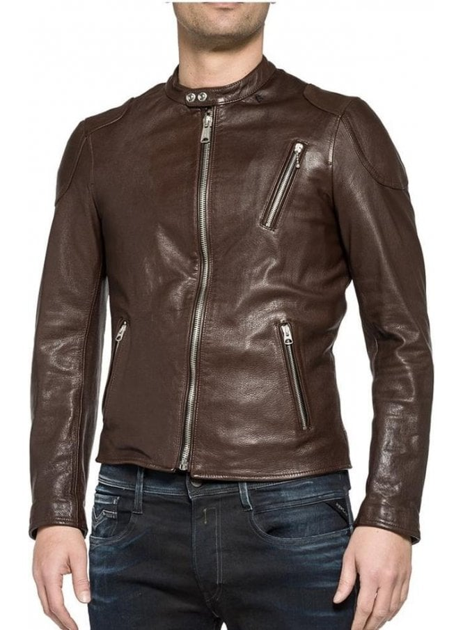 REPLAY Leather Biker Style Zip Detail Cuff Leather Brown