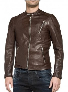 Leather Biker Style Zip Detail Cuff Leather Brown