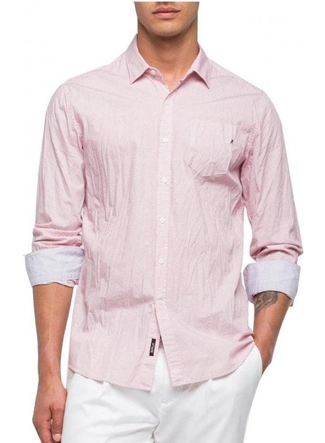 REPLAY Long Sleeved Circle Print Design Pocket Shirt Pastel Pink