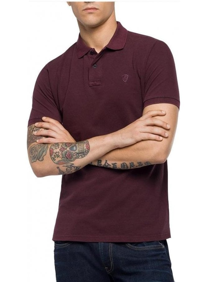 REPLAY Pique Polo T-Shirt Garment Dyed