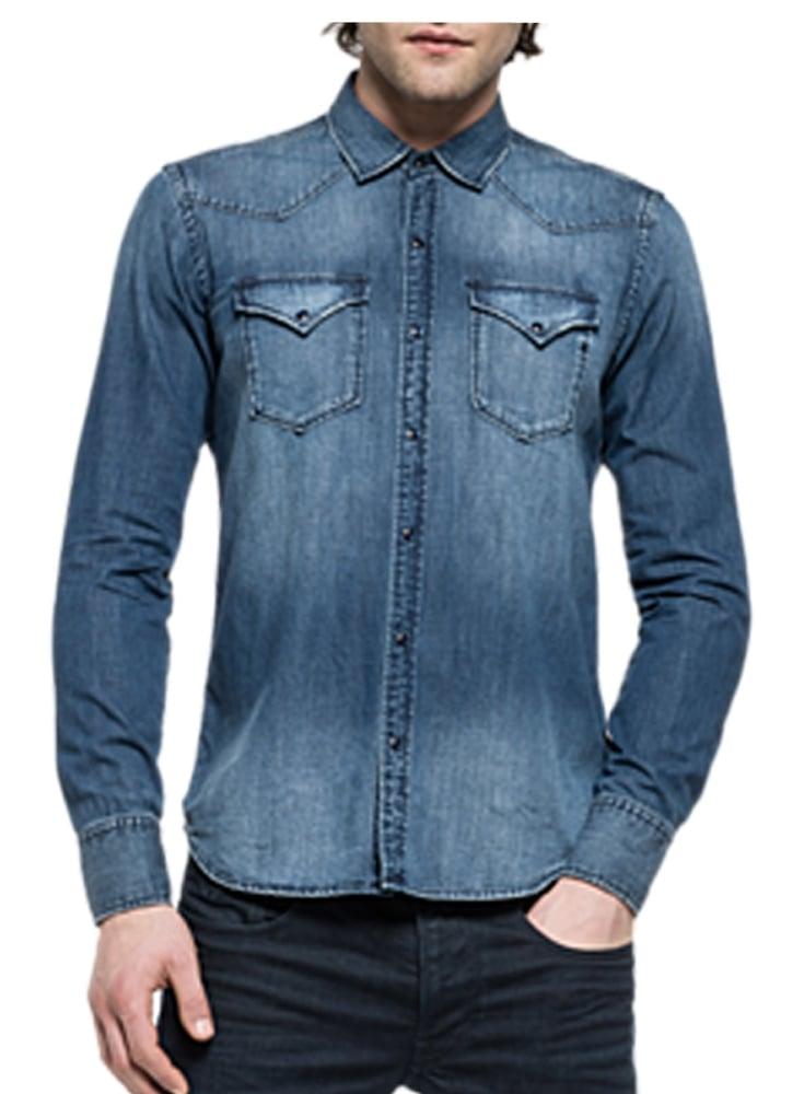 Shirt 009 Fit Sleeved Denim Regular Long OTPXiuZk