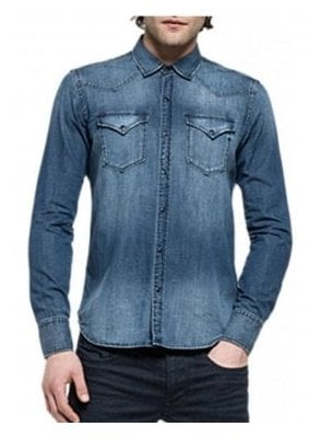 Regular Fit Long Sleeved Denim Shirt 009