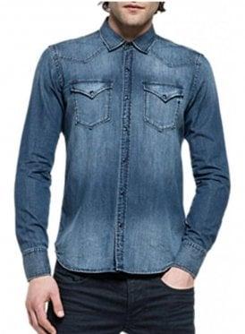 Regular Fit Long Sleeved Denim Shirt 009