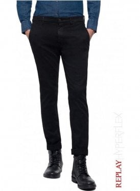 Slim Fit Zeumar Chino Trousers Hyperflex - Black