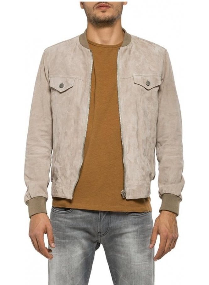 REPLAY Suede Bomber Style Front Pocket Detail With Beige