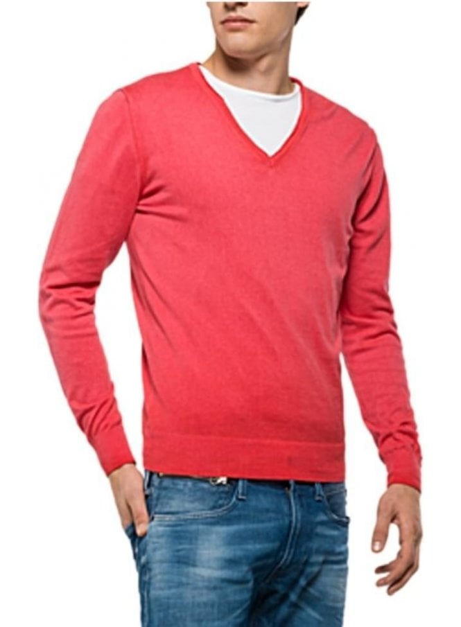 REPLAY V Neck Fine Knitwear Jumper Cerise