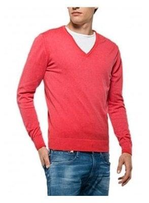 V Neck Fine Knitwear Jumper Cerise