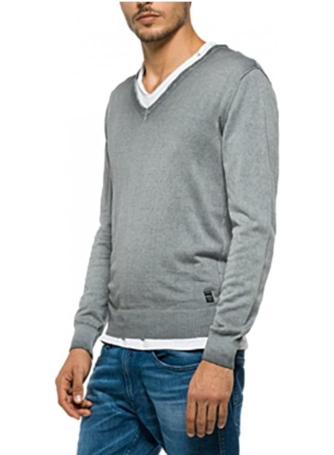 REPLAY V Neck Fine Knitwear Jumper Grey