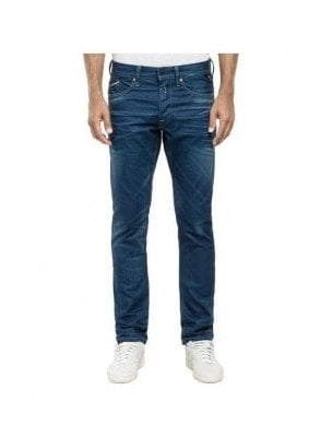 Waitom Resinplus+ Regular Slim Tapered Blue Coated Indigo Denim