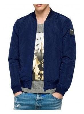Zip Bomber Jacket Navy Blue