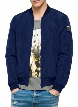 Zip Bomber Jacket Navy Blue