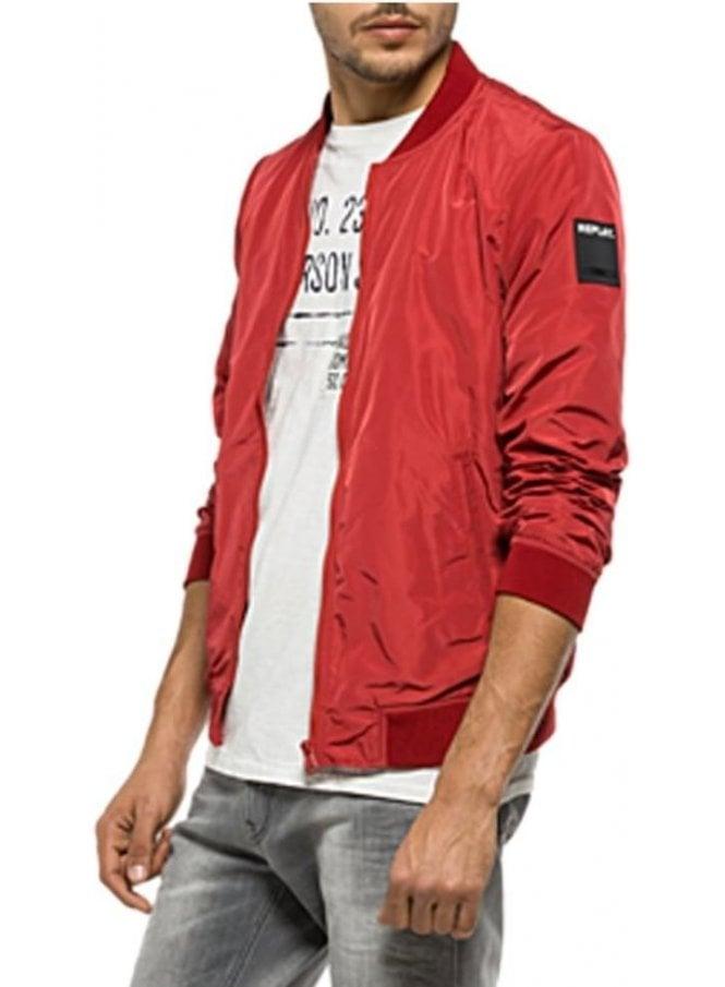 REPLAY Zip Bomber Jacket Red