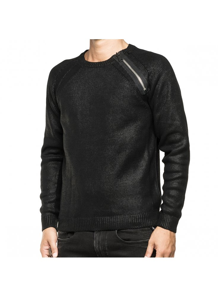 Zip Black Jumper Replay Detail Sweater Shoulder H29WEIYD