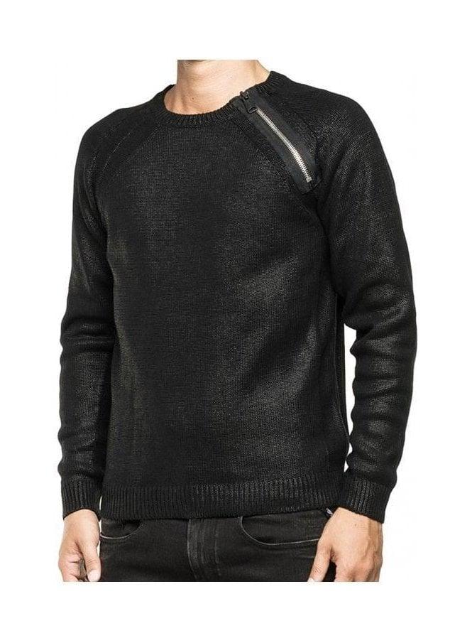 REPLAY Zip Detail Shoulder Jumper Sweater Black