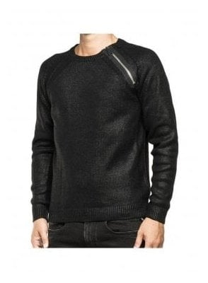 Zip Detail Shoulder Jumper Sweater Black