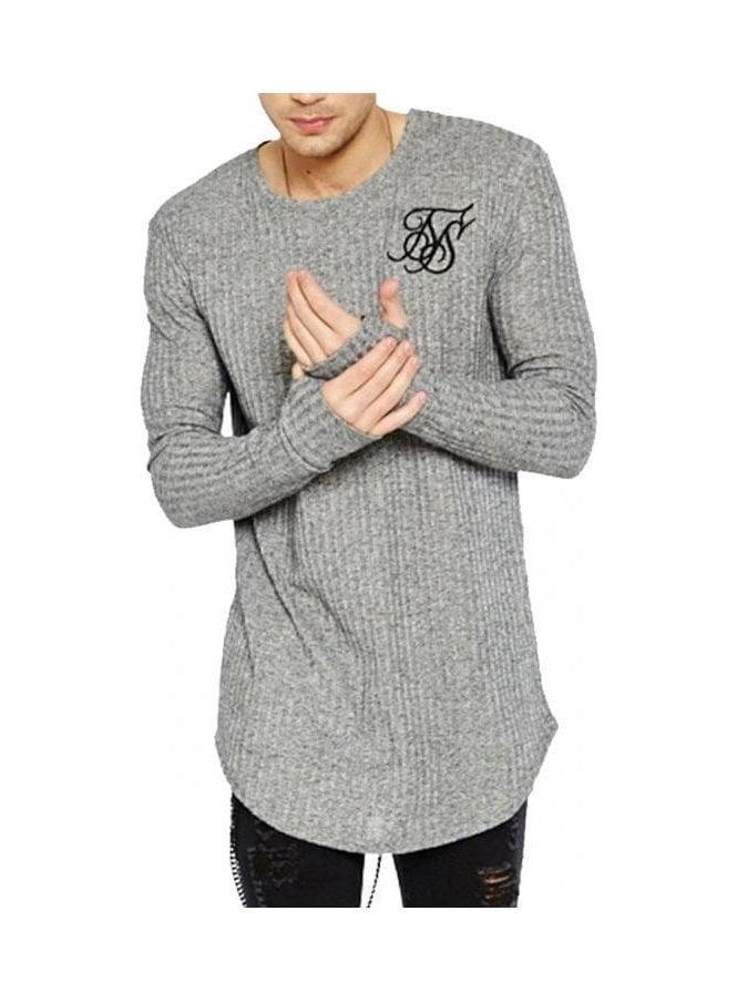 Rib Knit Long Sleeved Undergarment Tee Grey