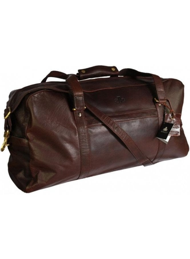 ROWALLAN Mexico Large Buffalo Leather Weekender Dark Brown