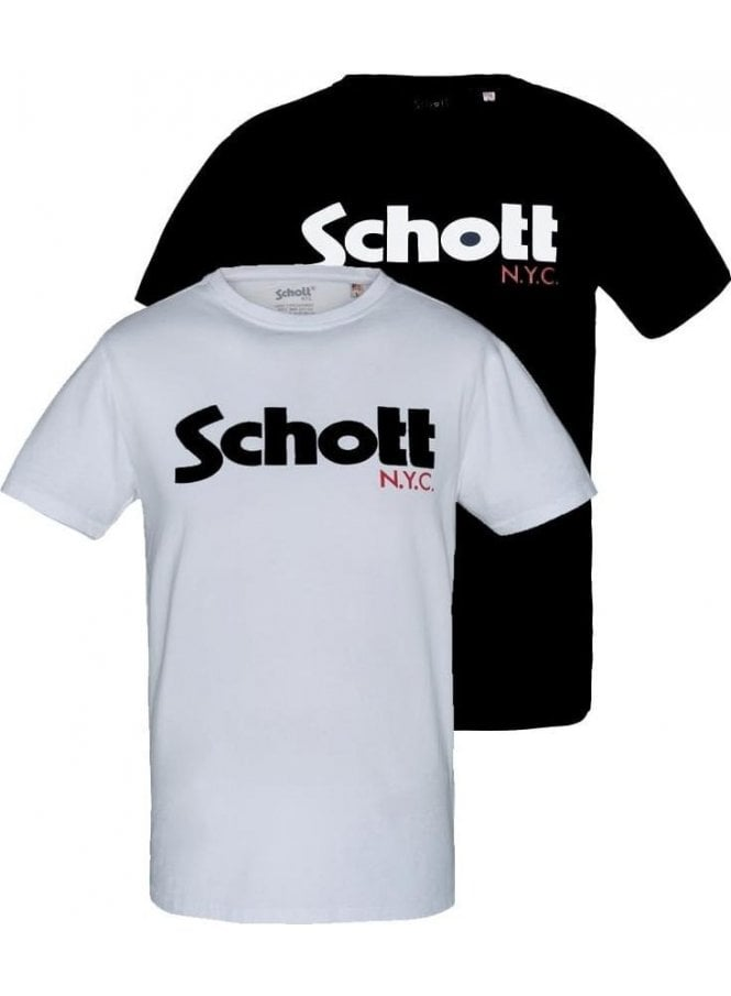 SCHOTT Basic Pack Logo Nyc Crew Neck Tshirt White/black