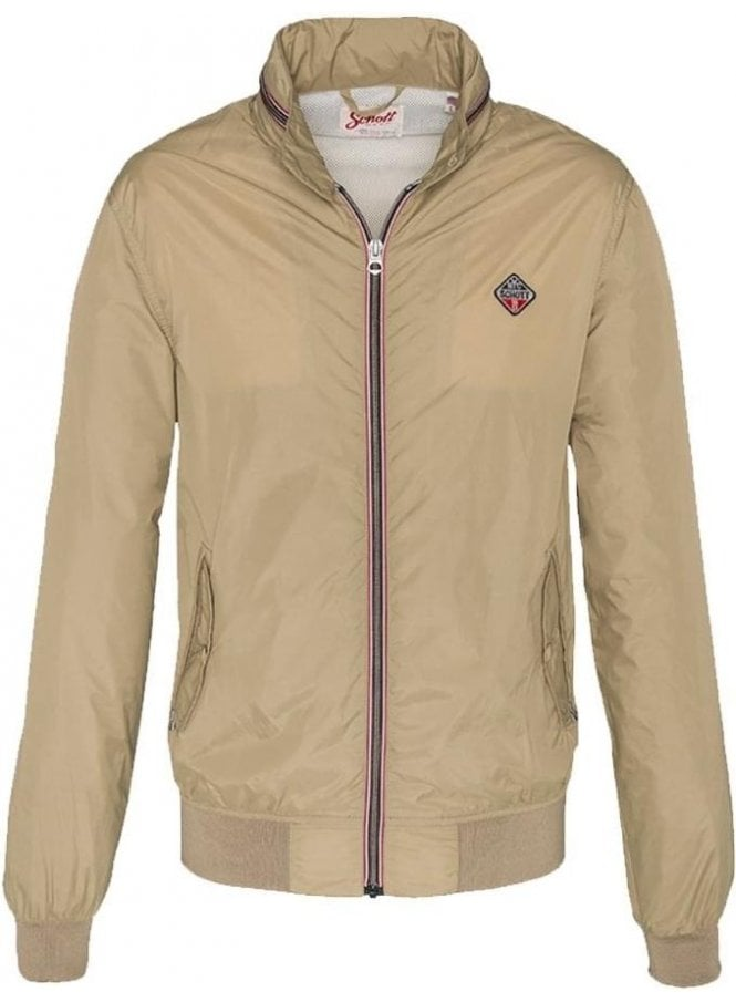 SCHOTT Cabl12r Blouson With Hidden Hood Zip Jacket Work Beige