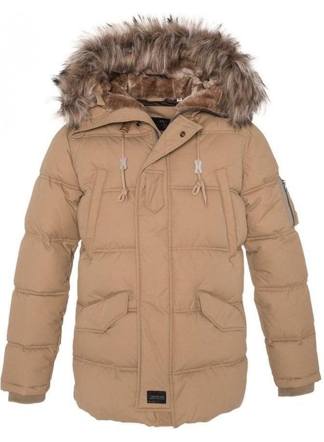 SCHOTT Fur Hooded Parka Style Jacket Beige